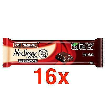 16 X WELL NATURALLY NO ADDED SUGAR RICH DARK CHOCOLATE 45g 70% COCOA