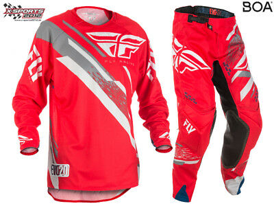 Fly Racing Evolution 2.0 Motocross Combo 2018 Rot Grau Weiß Enduro Hose Jersey