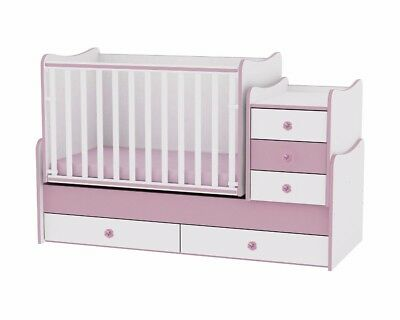 LORELLI BED MAXI PLUS WHITE/PINK baby toddler teen swinging cot cabinet girls