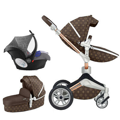 LUXURY baby stroller foldable jogger Carriage Infant Travel system PU pushchair