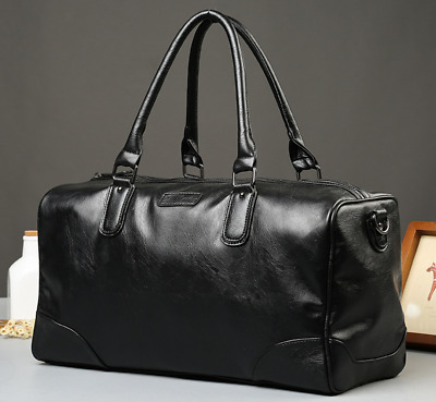 New Mens Black Large Leather Travel Gym Bag Weekend Duffle Bag Handbag