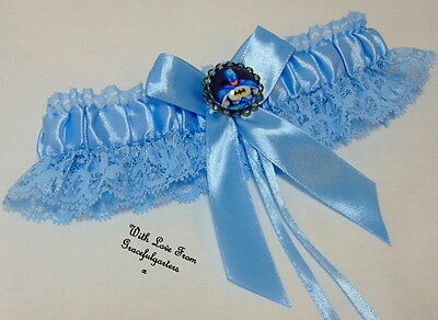 Batman Blue Lace Wedding garter. something blue