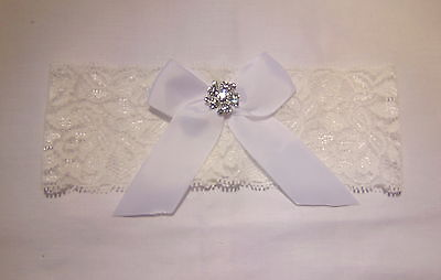 white diamante stretch lace Bridal Wedding Brides Hen Garter