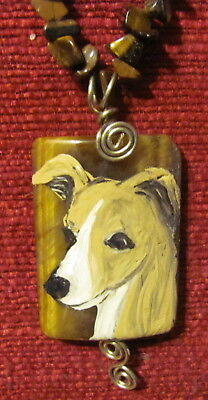 Italian Greyhound hand painted on a wire wrapped Tiger Eye pendant/bead. nedklac