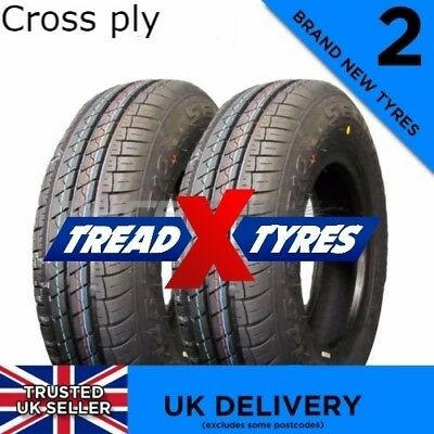 2x NEW 145/80B10 Cross Ply Two 14510 145 80 10 Tyres x2