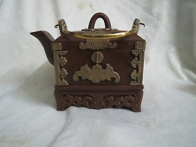 "Beautiful Artistic Chinese Old YiXing ZiSha Pottery ""Copper""Teapot"