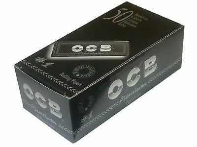 Full Box (50) OCB Premium Black Small Size Standart Size Rolling Papers