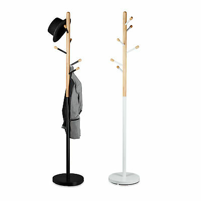 Standing Coat Rack Wardrobe Stand Scarf Holder Hanger Freestanding Wood Hallway