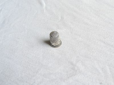 Antique Sewing Thimble Sterling Silver Ornate 1800's (ab549)