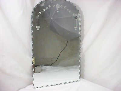 """Antique Vtg Frameless Ornate Beveled Etched Wall Mirror Dated 1945 20"""" x 12"""""""