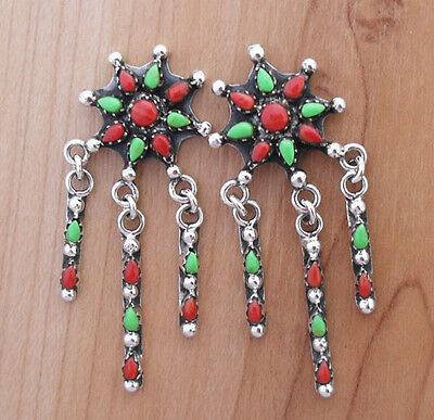 Handcrafted Flower Coral  Gaspiete Inlay .925 Silver Dangle Earrings