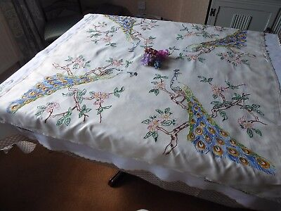 Vintage Hand Embroidered  Linen Tablecloth=Stunning Pink Wild Roses And Peacocks