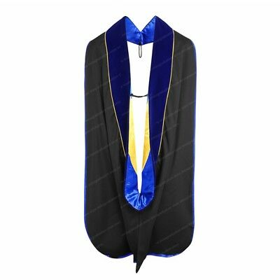 Graduation Unisex Deluxe Doctoral Hood with Gold Piping Graduation Hood PH.DBlue