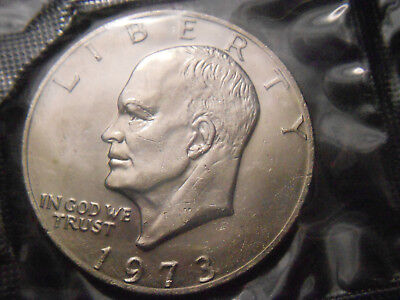 1973 P D Eisenhower Dollars Free Shipping 2 Coins In Cello