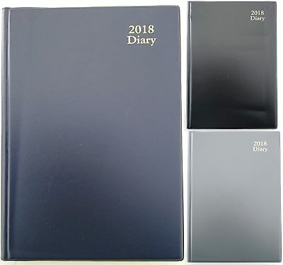 New 2018 Diary Day To Page A5 PVC Desk Business Diary DTP Navy Black Grey