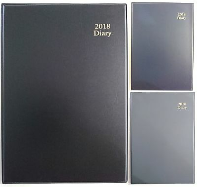 New 2018 Diary A4 Week To Page PVC Desk Business Diary A4 WTP Black Navy Grey