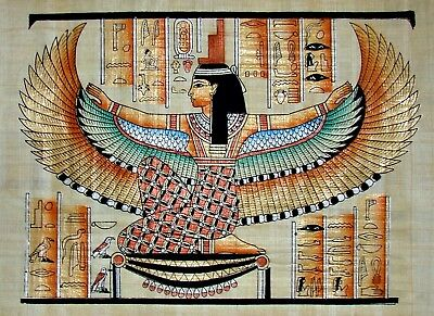 Egyptian Hand-Painted Papyrus Art: Winged Isis Seated on Gold * King Tut's Tomb