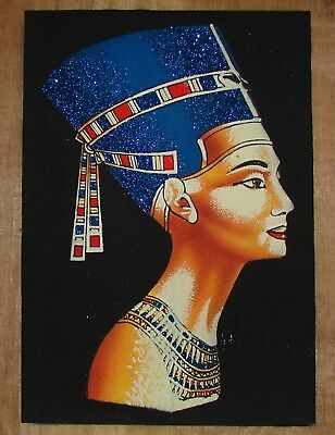 Egyptian Hand-painted Dark Papyrus: Bust of Queen Nefertiti Black Background