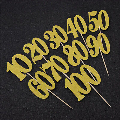 Birthday Cake Toppers Party Decorations 10 20 30th 40 50 60 70 80 90 100 Years