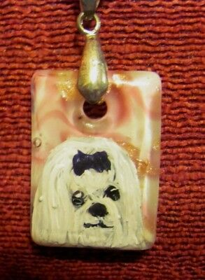 Maltese hand painted on small, rectangular glass pendant/bead/necklace