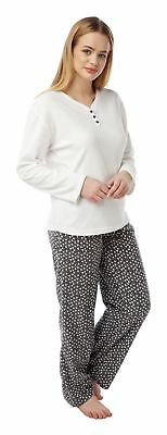 Ladies Winter Fleece Pyjama Set, Sheep & Spot PJs Twosie Pyjamas LN97, Size 8-20