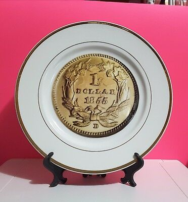 10 Inch Plate 1 Dollar 1855 Commemorative Plates and First Day Cover Coin  Gift