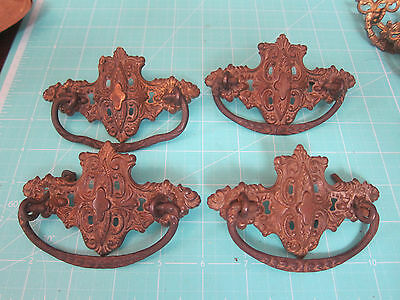 4 Vintage Brass covered Drawer Pulls BEAUTIFUL!