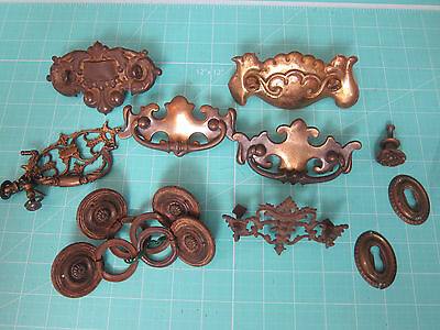 Vintage Lot of Miscellaneous Brass Escutcheons, Drawer Pulls