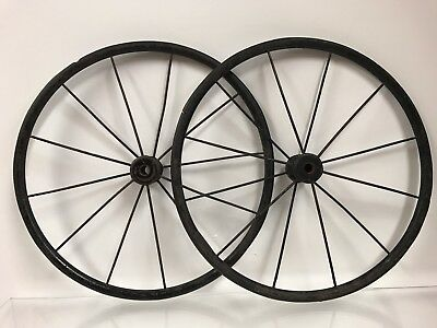 "2 Antiques 12"" Wagon Wheels Buggy Tires Spokes Cart, Pair Primative Metal Rubber"