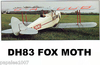 """Model Airplane Plans (RC): DH83 Fox Moth Scale 59½""""ws for .40-.50ci 4-channel"""