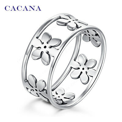 CACANA Stainless Steel Rings For Women Five Petals Fashion Jewelry Wholesale ...