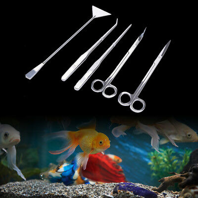 5Pcs Aquarium water fish plant tools scissors tweezers leveler algae cleaner D+