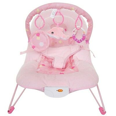 Melodies Baby Bouncer - Pink, Musical Infant Vibrating Napper Seat with Toy Bar