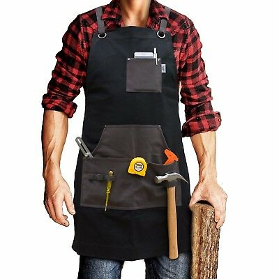 Crafts Workshop Apron Heavy-Duty Waxed Canvas Water-Resistant Pockets Tool Loops
