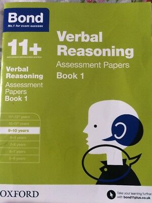 BOND 11+ ELEVEN PLUS AGE 9 TO 10 VERBAL REASONING ASSESSMENT PAPERS 1 Book Only