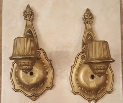 Antique Pair of Art Deco Electric Wall Sconce by Riddle Design Co 901