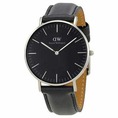 Original Daniel Wellington Classic Black Sheffield silber 40mm DW00100133 NEU