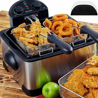 1700W Stainless Steel Triple Basket Electric Deep Fryer w/ Timer Odor Filter Oil