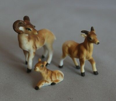 Bighorn Sheep Goat Family - Japan - bone china miniature ceramic animals