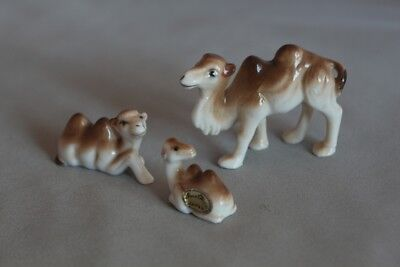 Vintage Camel Family of 3 - Japan - bone china miniature ceramic animals