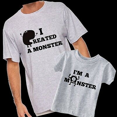 Daddy and Son or Daughter - I Created A Monster - I'm A Monster matching shirts