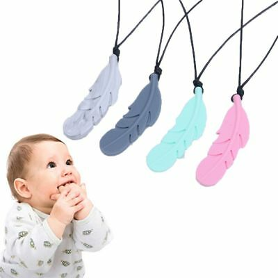Nursing Feather Shape Baby Teether Silicone Soother Chew Toy Teething Necklace