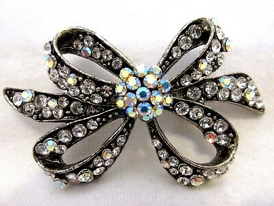 77695f96b26 Vintage Art Nouveau Bow Brooch Pin Marcasite W/Multi-Faceted Crystal  Rhinestones