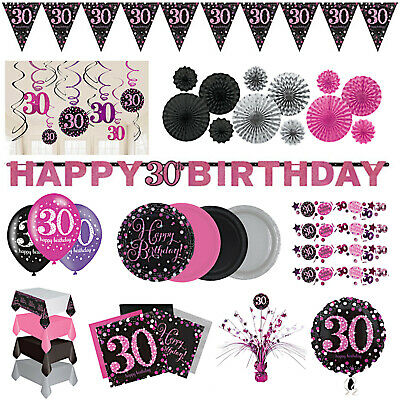 30th Birthday Party Girls Pink Silver Decorations Tableware Plates Napkin Banner