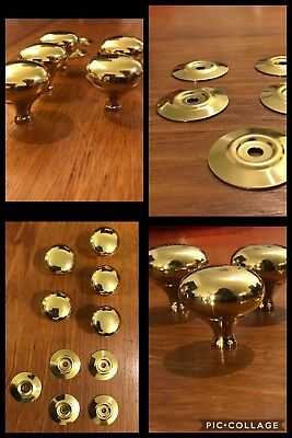 10 Knob & Back Plates Pulls Round Bright Brass Finish Cabinet Drawer Retro Heavy
