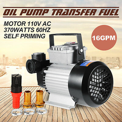 16GPM Oil Diesel Fuel Transfer Pump Self Priming 20-60L/Min Premium 110V AC