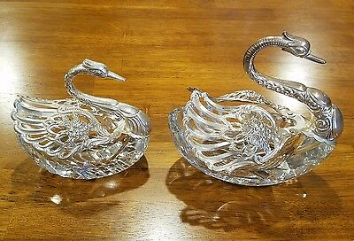 Very large sterling silver and Crystal swan salt cellar set