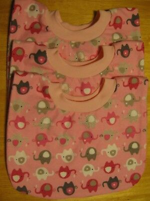 3 Baby Toddler Bibs Pull Over Head special needs drool flannel pink elephants