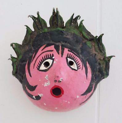 Vintage Mexican Folk Art Coconut Mask Painted Woman