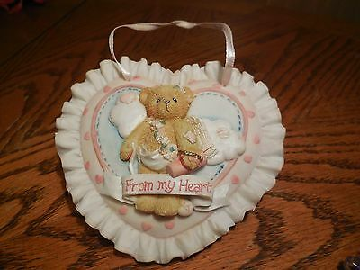 """Cherished Teddies Enesco Wall Plaque Ornament  """"From My Heart""""  1994"""